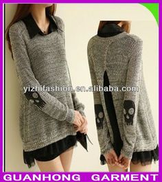 skull sweaters for women | fashion spring skull applique twinset women's sweater casual for girls ...