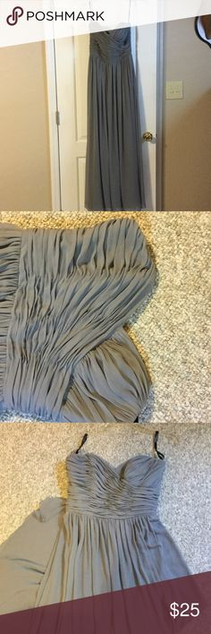 Prom/Bridal gown Smoky gray gown. Long and flowy. Simple and elegant. Small little stain shown in last picture towards the bottom of gown. Not noticeable when wearing. Aftersix Dresses Prom