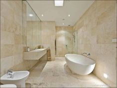 TRAVERTINE BATHROOM IDEAS – A fresh and natural bathroom must be a dreamy one. To realize the bathroom tone, some choose wood, others go for travertin. Travertine Bathroom, Stone Bathroom, Bathroom Floor Tiles, Bathroom Renos, Mirror Bathroom, Redo Bathroom, Natural Bathroom, Remodel Bathroom, Corner Bath