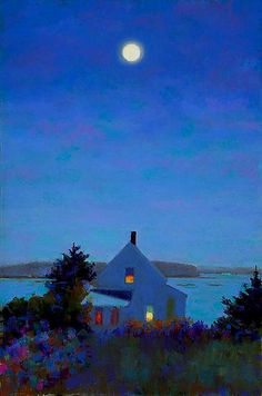 Yellow House, Full Moon by Suzanne Siegel. Archival pigment print on 100; rag paper, signed and numbered by the artist. Print is made from an original pastel painting of a night in Maine.