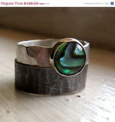 SAVE 20 PERCENT NOW Rustic distressed sterling abalone by tinahdee, $110.40