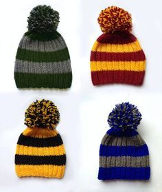 Harry Potter hand-knitted hat These hats represent Hogwarts house: _ Gryffindor: red and yellow _ Ravenclaw: blue and grey _ SLytherin: green and Más Harry Potter Beanie, Harry Potter Crochet, Harry Potter Outfits, Harry Potter Gifts, Harry Potter Hogwarts, Ravenclaw, Slytherin Pride, Loom Knitting, Hand Knitting