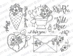 Digital Stamp / Embroidery Pattern - Sealed With a Kiss. $3.00, via Etsy.