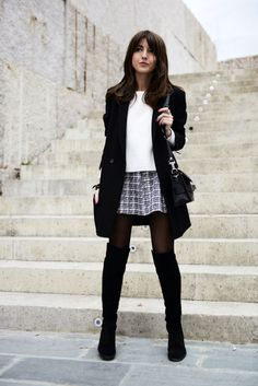tweed + over the knee boots!