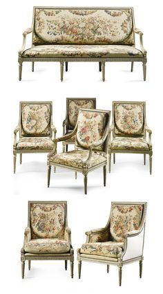 A suite of Aubusson tapestrycovered grey painted seat furniture stamped D.O. Roussel, Louis XVI, late 18th century | Lot | Sotheby's M-R