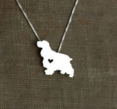 Cocker Spaniel necklace sterling silver, tiny silver hand cut dog pendant with heart. $45.00 USD - I wanna find a Springer Spaniel necklace but this is the closest I can find so far.