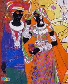 Tired of looking at a blank wall?Explore our latest selection of new works artworks Ethnic Serendipity by Anuradha: http://goo.gl/uYsW5Q  Give a quick look to Anuradha Thakur's paintings here: http://goo.gl/fnVY7r  #ContemporaryArt #BuyPaintingsOnline