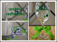 Seattle Seahawks wine glass by AnchorAvenueDesigns on Etsy, $10.00 #Seahawks #12thman