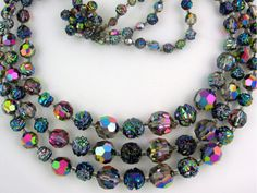 Vintage 1950s Carnival Glass and Crystal Necklace