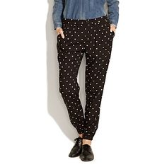 salt & pepper slouch pants  $98.00  Item# 48745  So irresistibly luxe: trouser details up top, a harem-style cuff down below—all in our favorite black and white print.