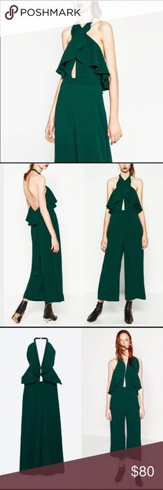 Forest Green Zara Jumpsuit- Brand new condition Sleeveless green jumpsuit with crossover straps. Front frill detail. Halter neck with open back. Pant leg is wide leg/culottes style. Very flattering and great for dressier functions. I wore this jumpsuit once to a winter wedding with a faux fur. Other