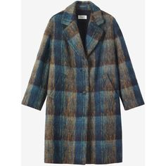 Toast Brushed Wool Mohair Coat (5.748.150 IDR) ❤ liked on Polyvore featuring outerwear, coats, checkered coat, tartan coat, mohair coat, fur-lined coats and leather-sleeve coats