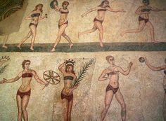 """3rd Century mosaic known as """"Bikini Girls"""" at the Villa Romana del Casale in Sicily"""