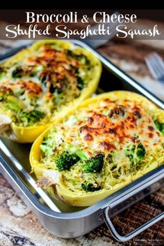 Low Unwanted Fat Cooking For Weightloss Broccoli and Cheese Stuffed Spaghetti Squash Is Only 314 Calories Per Servings, Extremely Delicious, And Super Easy To Make Add This To Your Healthy Recipes List Right Now Low Carb Recipes, Cooking Recipes, Diet Recipes, Atkins Recipes, Recipes Dinner, Recipies, Cooking Games, Diabetic Recipes, Low Calorie Vegetarian Recipes
