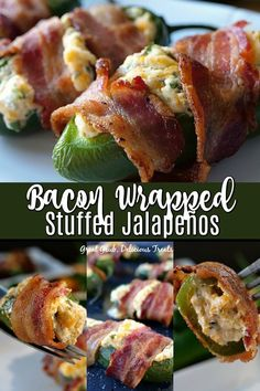 Bacon Wrapped Stuffed Jalapeños are delicious game day appetizers, loaded with cream cheese, grated cheese, onions and cilantro, wrapped in bacon and roasted to perfection. Jalapeno Cream Cheese Bacon, Smoked Jalapeno, Cream Cheese Stuffed Jalapenos, Stuffed Jalapeno Peppers, Bacon Jalapeno Poppers, Jalapeno Popper Recipes, Bacon Bacon, Game Day Appetizers, Bacon Appetizers