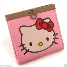 New Hello Kitty Buckle Lock Bilfold Short Wallet Pink HB101
