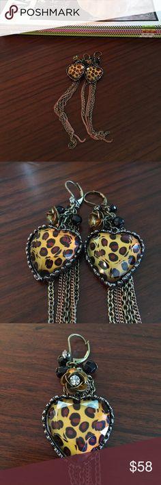 """Betsey Johnson Leopard Heart Earrings Beautiful statement earrings! Funky & Fun! Worn only 5 times! Big statement without the heavy pressure on ear lobes!! Longest strand reaching 6""""!!!💃🏻 Betsey Johnson Jewelry Earrings"""
