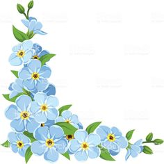 Vector corner with blue forget-me-not flowers on a white background. Oil Painting Flowers, Watercolor Flowers, Corner Drawing, Forget Me Not Blue, Decoupage, Pillow Embroidery, Easy Canvas Art, Hobbies That Make Money, Free Vector Art
