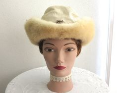 Vintage fox fur cowboy hat for woman, soft blonde winter fox fur brim with pearl and bead jewel trim, ivory fabric crown, circa 1960s by CardCurios…
