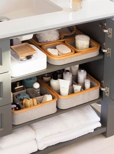 Bathroom Under Sink Starter Kit - Everything you need to organize the cabinet under your bathroom sink! organization under sink Nice Bathroom organization Design Ideas - Best Home Ideas and Inspiration Under Kitchen Sink Organization, Bathroom Cabinet Organization, Bathroom Cupboards, Under Sink Storage, Small Bathroom Storage, Bathroom Organisation, Storage Cabinets, Organization Ideas, Organized Bathroom