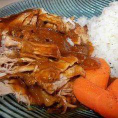 Couldn't Be Easier BBQ Pork Tenderloin (Crock Pot) Recipe - bottle of Sweet Baby Ray's (honey), garlic, onion and hot sauce!
