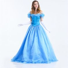 Adult-Sandy-Cinderella-Princess-Party-Blue-Fancy-Dress-Ball-Gown-Costume