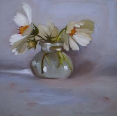 Landing's Muse oil painting floral white flowers -- Diane Hoeptner