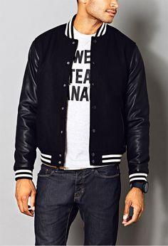 b7983bd7a63c2 Black varsity jacket Forever 21 Men