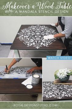 VIDEO Tutorial - Painted Wood Table Makeover with a Large Mandala Stencil Design and Chalk Paint. Painted Wood Table Makeover with a Mandala Stencil Design Hand Painted Furniture, Paint Furniture, Repurposed Furniture, Furniture Makeover, Painted Wood, Painted Tables, Furniture Ideas, Furniture Design, Bohemian Furniture
