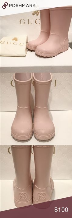 Gucci Toddler Rain Boots These shoes belong to my daughter that she no longer fits into. These pink rain boots are in great condition! It comes with original box, and dust bag. Shoes were purchased at the store for $250+ and are guaranteed to be authentic Gucci Shoes Rain & Snow Boots