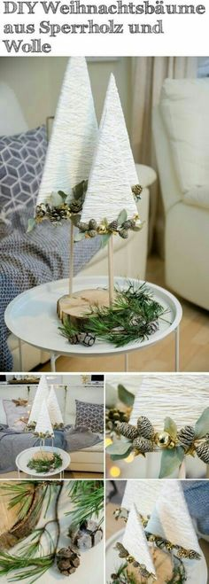 DIY Christmas trees made of plywood, wool and gold wire- DIY Weihnachtsbäume aus Sperrholz, Wolle und Golddraht DIY Christmas trees made of plywood, wool and gold wire - Diy Christmas Tree, Rustic Christmas, All Things Christmas, Christmas Holidays, Christmas Ornaments, Happy Holidays, Merry Christmas, Deco Table Noel, Theme Noel