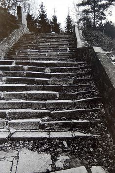 "The ""Steps of Death,"" Mauthausen, Austria, between 1987 and 1989. ""Prisoners … were often required to carry stone blocks weighing from 66 to 132 pounds on their shoulders, while marching at double-time, vulnerable to the shouting, whipping, and abuse of the SS guards. Adjacent to the 186 steps is the quarry rim, which the SS ironically called 'the parachute jump' because Jewish and political prisoners were sometimes thrown to their deaths from there into the quarry pit below"""