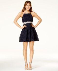 Trixxi Juniors' Embellished Soutache Fit & Flare Dress - Blue 15