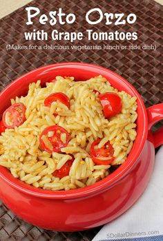 Pesto Orzo with Grape Tomatoes ~ a delicious vegetarian recipe that is healthy, filling, and perfect for lunch or a side dish! | 5DollarDinners.com
