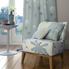 Maurice Kain Hazelhurst Sky - my bedroom curtain fabric. Love the coordinating fabrics for cushions too. Interior Decorating, Interior Design, Decorating Ideas, Design Interiors, Decor Ideas, Contemporary Fabric, Made To Measure Curtains, Blue Curtains, Discount Curtains
