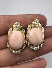 Autêntico David Webb Rosa Coral Diamantes Brincos Clip clipes de orelha