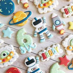 Space themed cookies for Brody! Cookies inspired by . 2nd Birthday Party Themes, Baby Boy Birthday, Baby Birthday, First Birthday Parties, First Birthdays, Birthday Ideas, Astronaut Party, Space Party, Space Theme