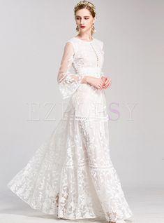 Embroidery O-Neck Puff Sleeve Big Hem Maxi Dress – DressSure Bridal Fashion Week, Party Fashion, Dress Fashion, Fashion Tips, Bridal Skirts, Bridal Gowns, Wedding Dress Trends, Wedding Dresses, Maxi Dresses