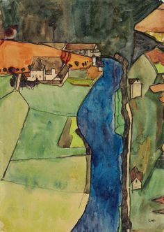 """Egon Schiele (1890-1918) Town on the Blue River, Krumau (1910) gouache, watercolor, metallic paint and black Conté crayon on paper 45 x 31.4 cm """