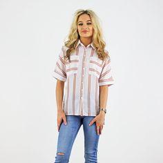 Glamorous White And Blush Double Stripe Short Sleeve Fitted Pocket Shirt Smart Casual Shirts, Pink Cadillac, Striped Shorts, Workout Shirts, Fashion Boutique, Work Wear, High Fashion, Blush, Short Sleeves
