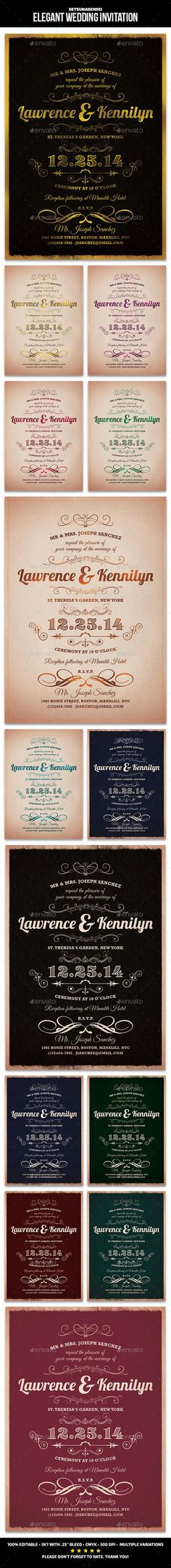free wedding invitation psd%0A Elegant Wedding Invitation