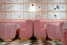 Updating the archetypal brasserie design with a very contemporary all-over Ladurée-esque powder pink on the walls and on the velvet-covered custom-made furniture.