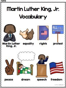 FREE Martin Luther King Vocabulary for your little learners from #SimplyKinder! (See free preview on TpT!)
