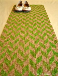 herringbone sponge painted rug