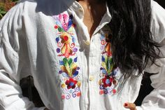 Pretty Folk ART Hand Embroidered Natural Cotton Ethnic Hippie Vintage Mexican Shirt 1960s. $42.00, via Etsy.