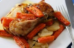 Sit down for a Sunday roast that's cheap, cheerful and tasty. This baked chicken with carrots uses chicken legs to keep it under budget - we've used dried herbs instead of fresh too.Cost: £3.60 (Sainsbury's)Items: Basics British chicken legs (approx 1.05kg) £2.36,loose carrots 16p, 500g loose baking potatoes 75p, 2 lemons 60p