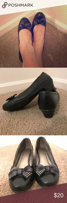 Cute bow comfy heels Wear these to work to look adorable and rock some bows, but stay comfy in the low heel and stretchy material. Black leather look with a low stable heel (about 1.5 inch) and super comfortable. Fits my size 6.5. Worn only once, like new  Name an offer! Red Dragonfly Shoes