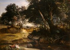 Forest of Fontainebleau: 1846 by Jean Baptiste Camille Corot (Museum of Fine Arts, Boston, MA) - Barbizon School/Realism