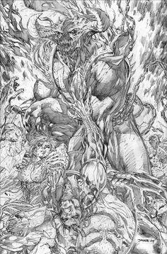 Figurativismo: Ilustración con muchos detalles en blanco y negro, grado de iconicidad intermedio