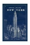 Blueprint Map New York Chrysler Building Lámina giclée premium por Sue Schlabach